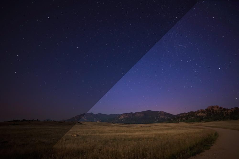 Abenddämmerung mit Sternenhimmel
